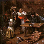 Ян Стен - Steen Card Players Quarreling, 1664-65, oil on canvas, Gemal