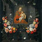Luca di Tomme - Garland of Flowers with the Madonna and Child