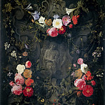 Giovanni Battista Gaulli (Baciccio) - Garland of Flowers with the «Ecce Homo»