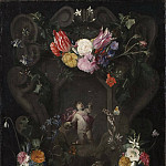 Scarsellino (Ippolito Scarsella) - Flowers Around a Cartouche with an Image of Putto [After]
