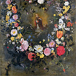 Luca di Tomme - Garland of Flowers with Saint Ignatius