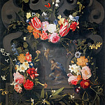Antoniazzo Romano - Garland of Flowers with Saint Goswin