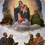 Madonna and Child in Glory, two Angels and Saints Peter, Dominic, Paul and Jerome