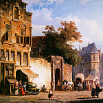 Корнелис Спрингер - Springer Cornelis Cityview wiith marketstall Sun