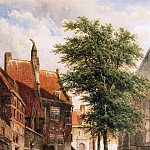 Корнелис Спрингер - Springer Cornelis View behind the Grote Kerk in Naarden Sun