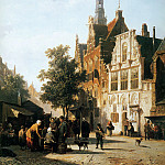 Корнелис Спрингер - Springer Cornelis Marketview with cityhall Woerden Sun