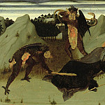 Sassetta (Stefano di Giovanni) - St. Anthony Beaten by Devils, panel from the Altarpiece of the Eucharist