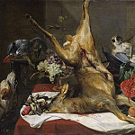 Lotten Ronquist - Still Life with Dead Game, a Monkey, a Parrot, and a Dog