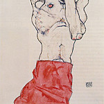 Egon Schiele - Schiele Standing Male Nude with Red Loincloth, 1914, Graphis