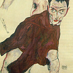 Egon Schiele - Schiele Self-Portrait with Raised Right Elbow, 1914, Private