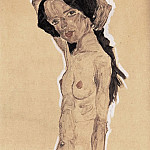 Egon Schiele - Female nude with black hair