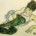 Egon Schiele - Schiele Reclining Woman with Green Stockings, 1917, 29.4x46