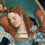 Pietro Perugino - Mary with Child and the Trinity, Archangels and Saints, detail