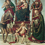 Luca Signorelli - Mary on the throne with the child and saints