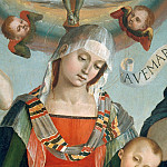Mary with Child and the Trinity, Archangels and Saints, detail, Luca Signorelli