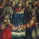 Virgin and Child with Saints Francis, Chiara, Margaret, Mary Magdalene, and Four Angels, De Schryver Louis Marie