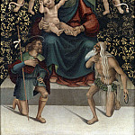 Luca Signorelli - The enthroned Madonna with the saints Onuphrius and Rochus