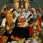 Pietro Perugino - Mary with Child and the Trinity, Archangels Michael and Gabriel and Saints Augustine and Athanasius