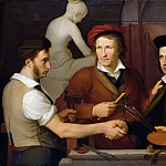 Johann Friedrich Overbeck - Self Portrait with his Brother Rudolf and Bertel Thorvaldsen