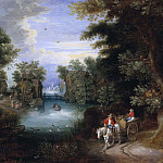Lorens Pasch the Younger - River Landscape with Peasants