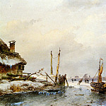 Andreas Schelfhout - Schelfhout Andreas Winter view with ice boat Sun