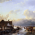 Andreas Schelfhout - Schelfhout Andreas Scaters on river near saw mill Sun_2