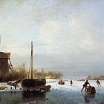 Andreas Schelfhout - Schelfhout Andreas Boat in frozen canal Sun