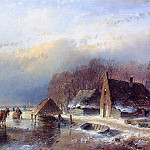 Andreas Schelfhout - Schelfhout Andreas Men with towing sledge Sun