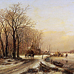 Andreas Schelfhout - Schelfhout Andreas Winter landscape with scaters Sun