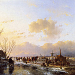 Andreas Schelfhout - Schelfhout Andreas People on frozen river Sun