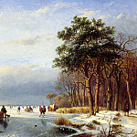 Andreas Schelfhout - Schelfhout Andreas Scaters on frozen river with firs Sun