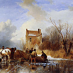 Andreas Schelfhout - Fishermen on ice