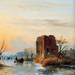 Andreas Schelfhout - Schelfhout Andreas Ruin in winter landscape Sun