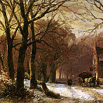 Andreas Schelfhout - Schelfhout Andreas Horse and carriage at inn Sun