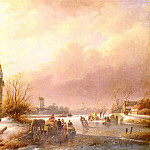 Andreas Schelfhout - Schelfhout_Andreas_Skaters_On_A_Frozen_River