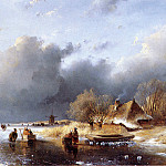 Andreas Schelfhout - Schelfhout Andreas Scaters on river near farm Sun