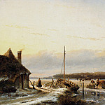 Андреас Схелфхаут - Schelfhout Andreas Ice view with boat and farm Sun_2