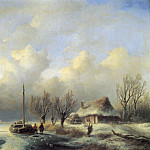 Andreas Schelfhout - Figures_in_a_Winter_Landscape