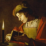 Giovanni Francesco Romanelli - A Young Man Reading by Candlelight