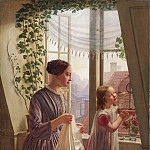 Interior of mother and daughter at the window