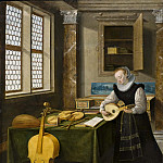Giovanni Francesco Romanelli - Lady Playing the Lute