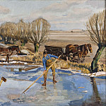 Olof Sager-Nelson - Farmhands fetching Ice