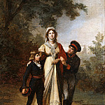 Eduard Bendemann - Queen Luise with her sons in the park by Luis choice