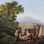 Johann Eduard Wolff - Idealized Greek Landscape with resting Shepherds