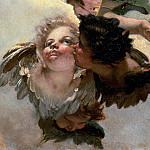 Angel with lily and a putto handing the scapular, detail, Giovanni Battista Tiepolo