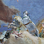 Apollo leads Beatrice of Burgundy as bride to Emperor Frederick Barbarossa, detail – Apollo carriage, Giovanni Battista Tiepolo