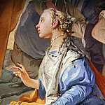 Giovanni Battista Tiepolo - Laban searches for the images of gods, hidden by Rahel, detail
