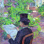 Henri De Toulouse-Lautrec - Toulouse-Lautrec Desire Dihau Reading a Newspaper in the Gar