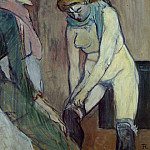Анри де Тулуз-Лотрек - Toulouse-Lautrec Woman Pulling up her Stocking, 1894, Musee