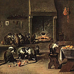 David II Teniers - Tenniers_the_Younger_David_Apes_in_the_Kitchen
